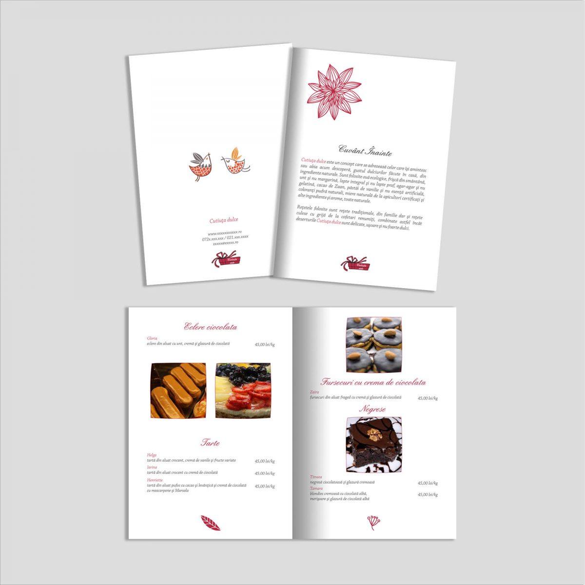Graphic design broșură produse cofetărie