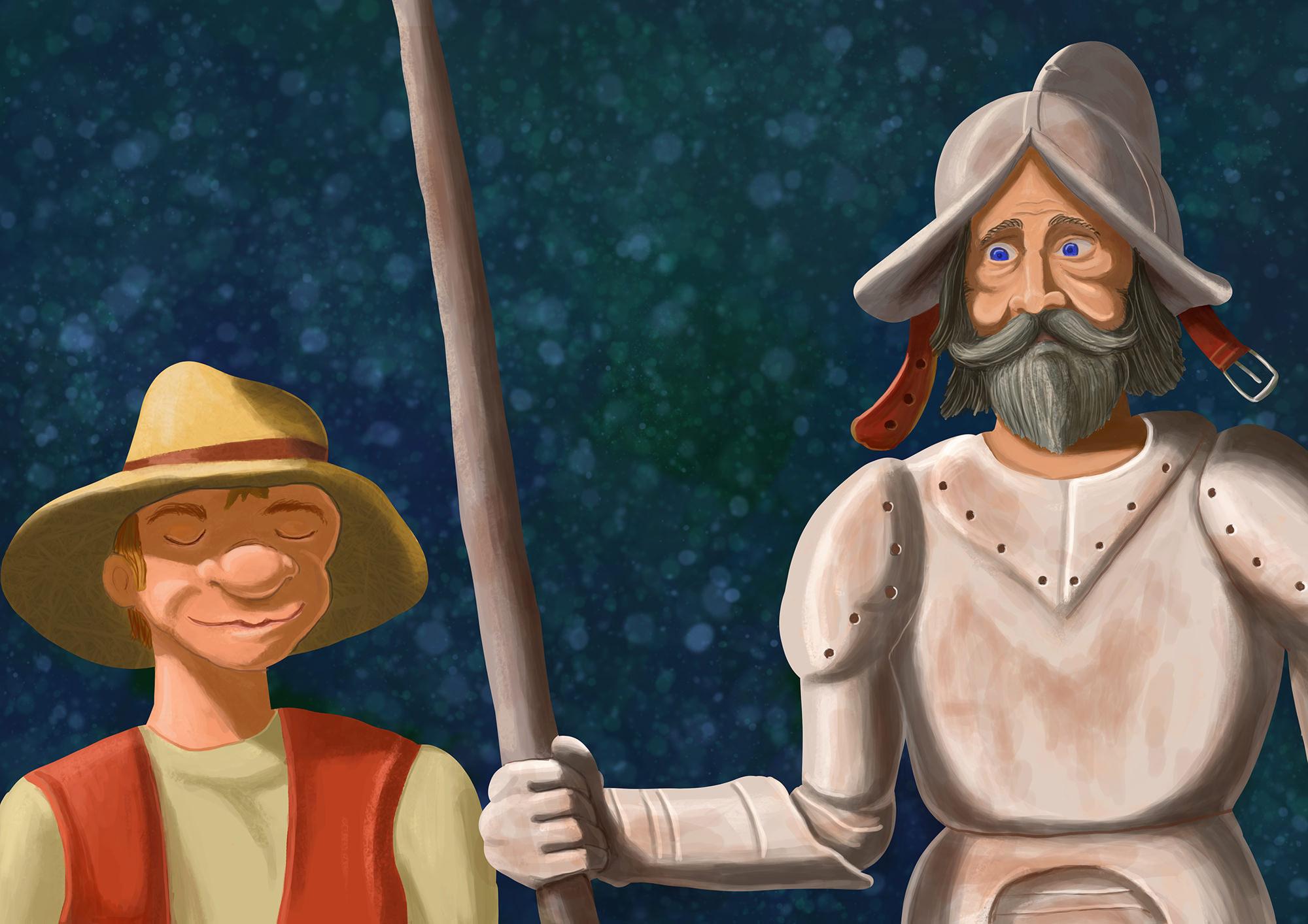 Ilustrație (desen digital) - Don Quijote & Sancho Panza