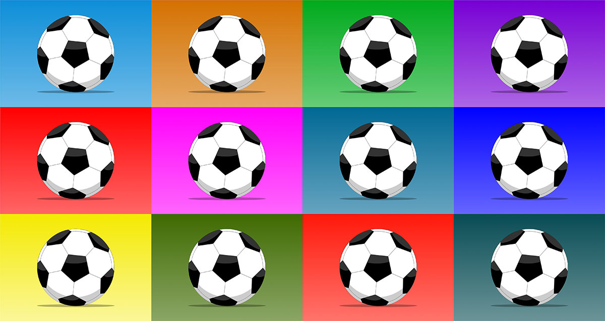 Ilustrație digitală: minge de fotbal pe fundal colorat. 12 variante de culoare