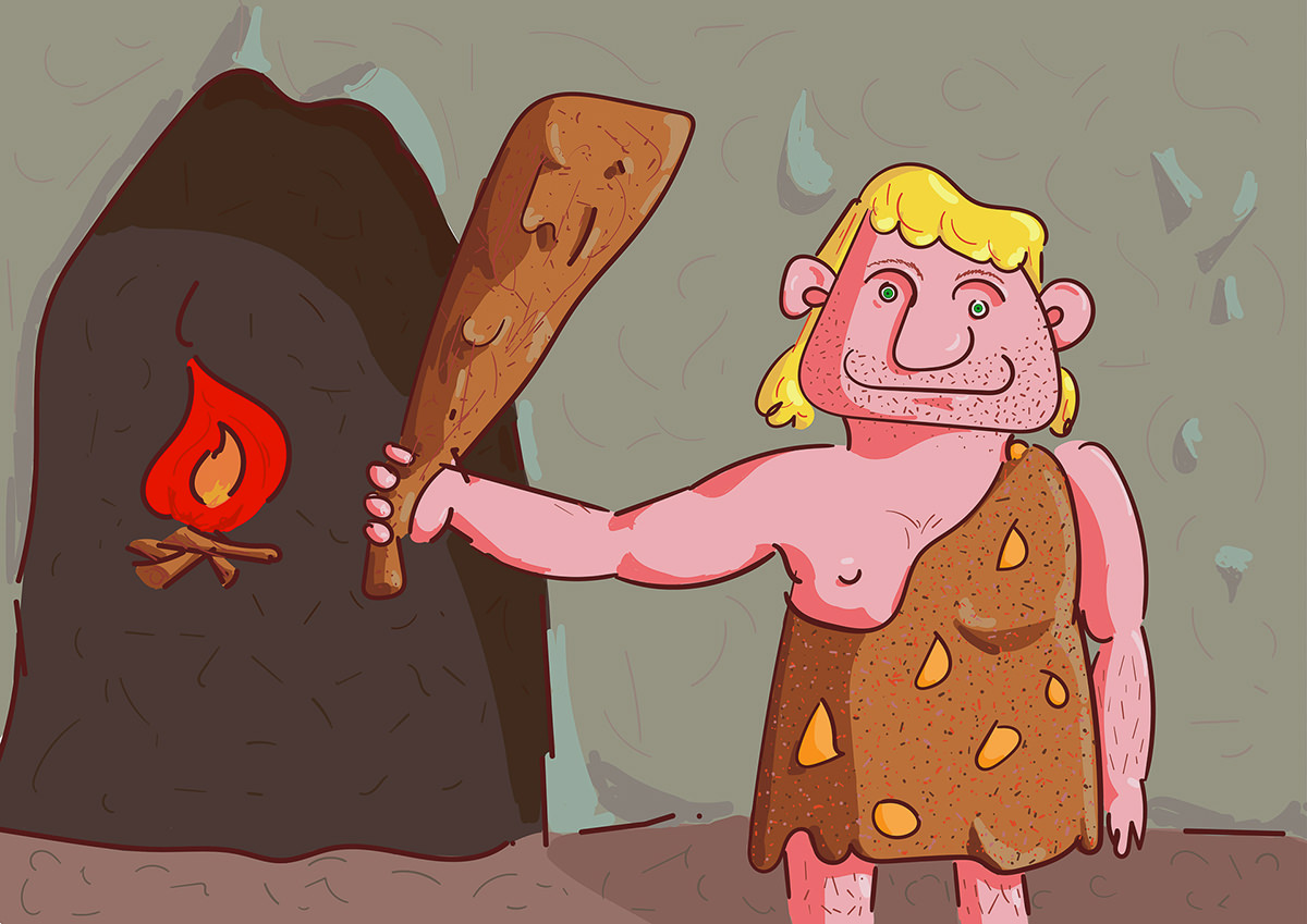 Ilustrație Digitală (caricatură): Om Preistoric