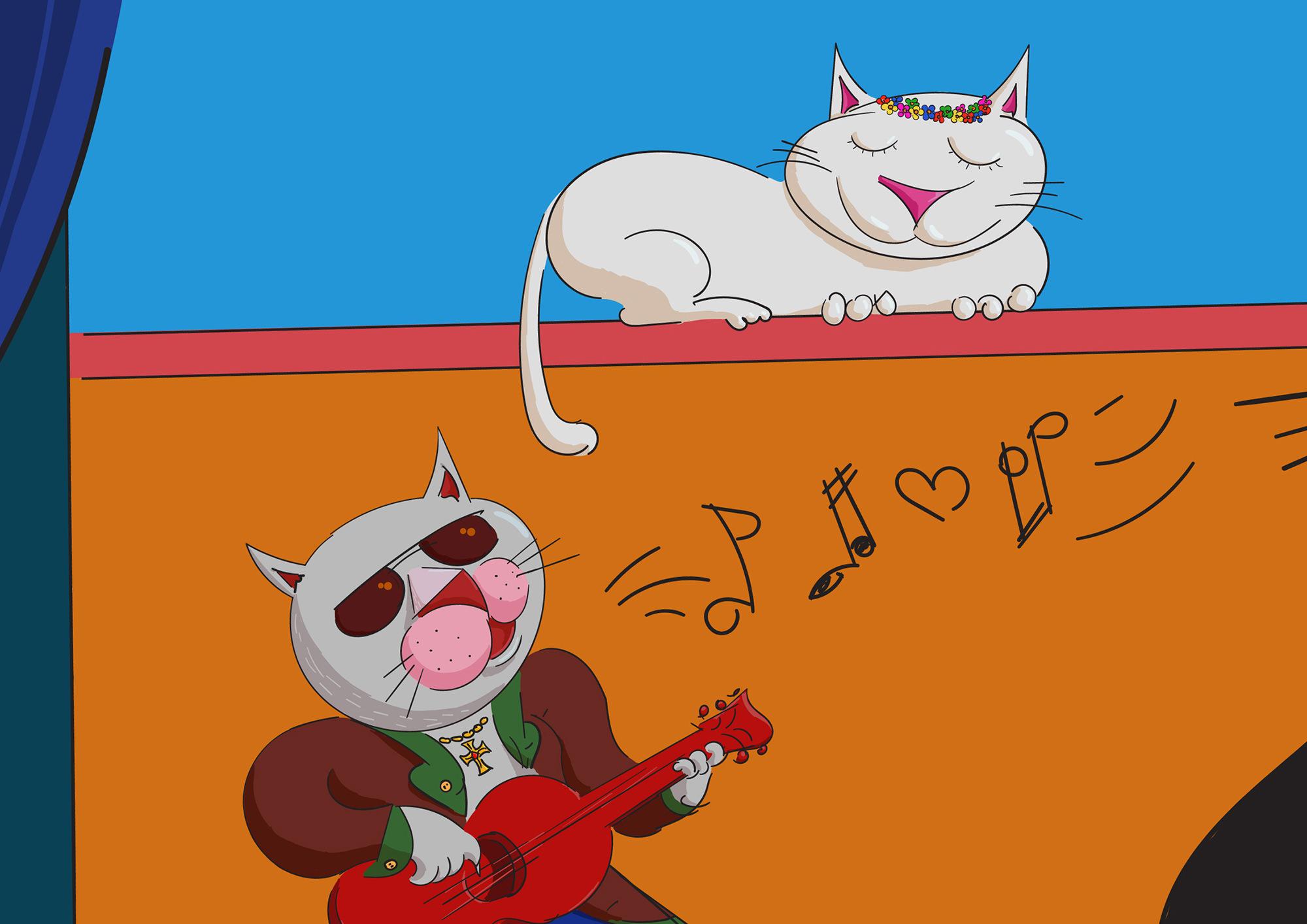 Ilustrație (desen digital) - The Poveste cu pisici (detaliu)