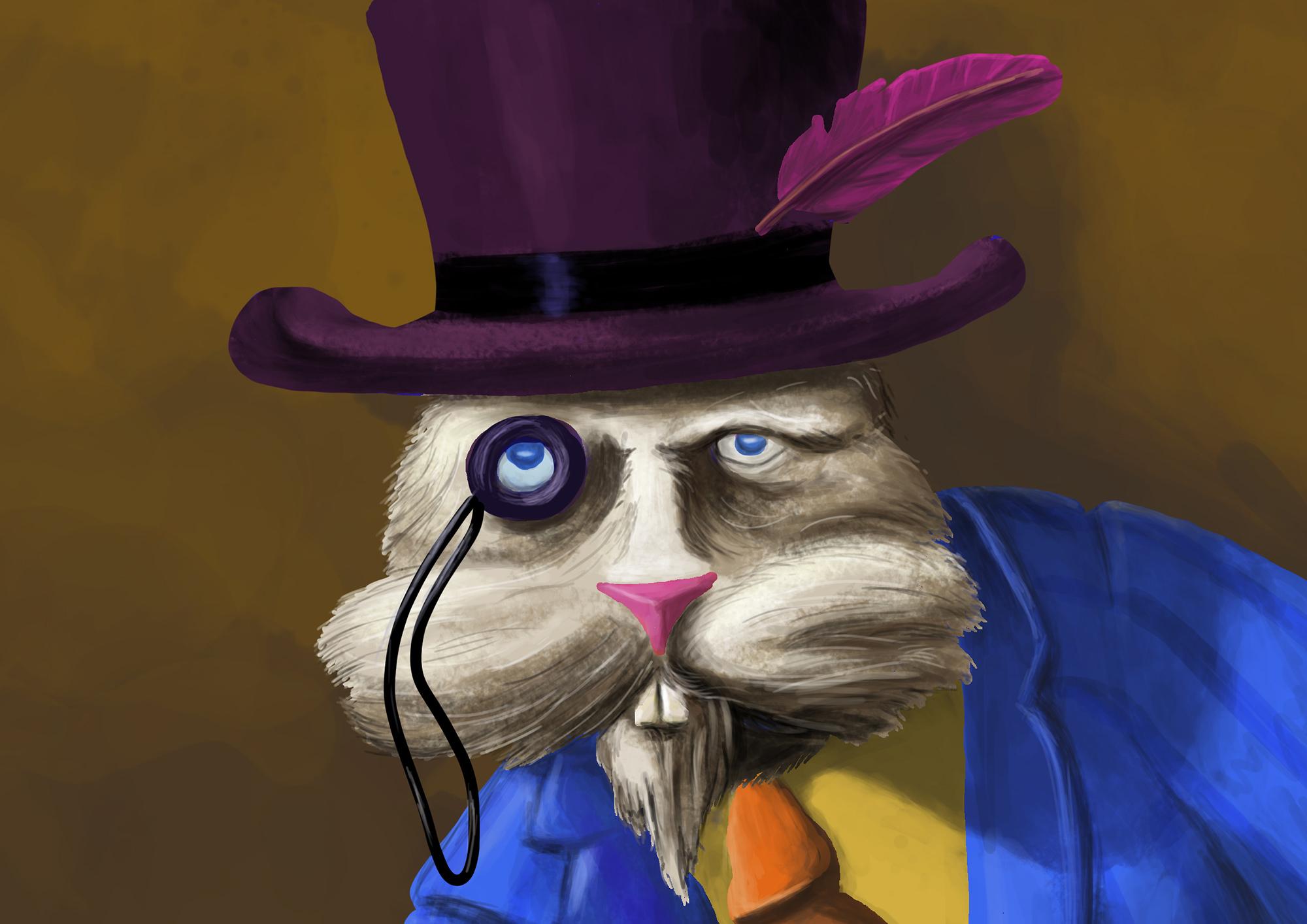 Ilustrație (desen digital) - The White Rabbit, years later (detaliu)